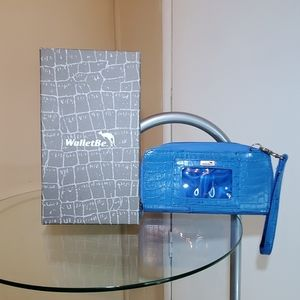 WalletBe Croco Ocean Blue Leather Embossed Wallet